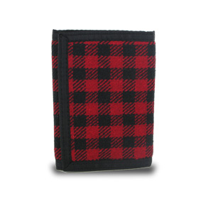 Plaid Fabric Trifold Wallet - Red/Black