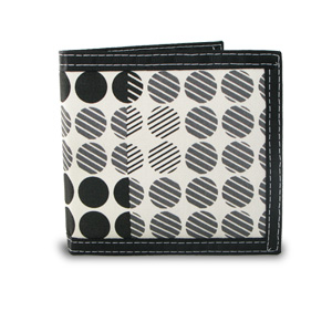 Men's Bifold Screen Print Canvas Dot Pattern Wallet