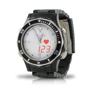 Fashion S-Pulse Heart Rate & Dual Time Zone Watch with Large LED Readout - Men's