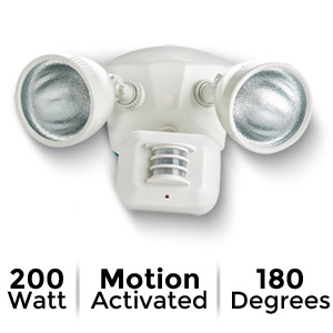Designer's Edge Ecozone 180-Degree 200W Motion Activated Twin Floodlight, White