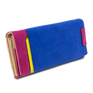 Mad Style Color Block Suede Wallet, Blue