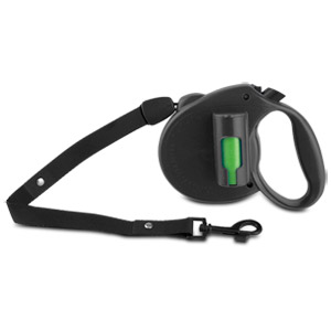 PAW Bio Retractable Leash with Green Pick-up Bags, Black
