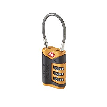 Lewis N Clark TSA-Approved Combination Luggage Lock With Steel Cable, Orange