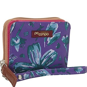 Po Campo Bill Fold Wallet, Purple Petals
