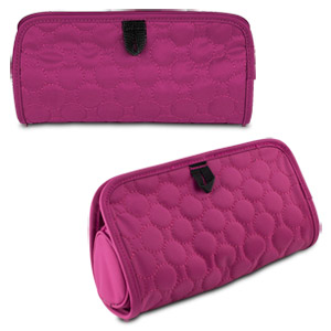 Travelon Jewelry and Cosmetic Clutch with Removable Center Pouch, Berry Quilted