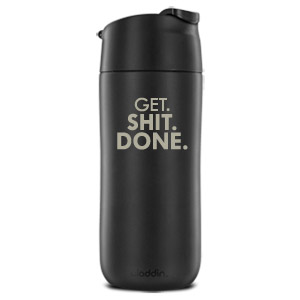 12 Ounce Flip and Sip Insulated Engraved Mug, Get Shit Done