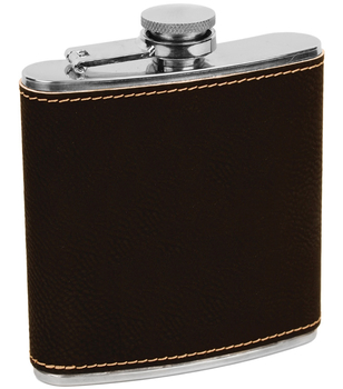 Erie 216 6 oz. Stainless Steel Flask in Engravable Black/Gold Leatherette (FSK617A)