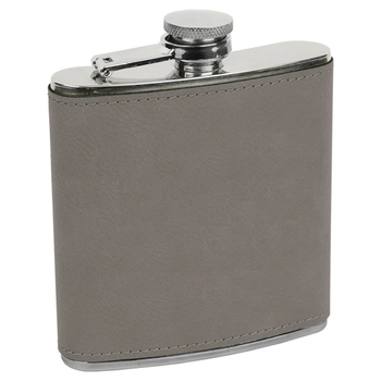 Erie 216 6oz. Leatherette Wrapped Stainless Steel Flask Gray (FSK619)