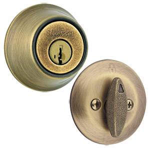 Kwikset 660 Single Cylinder Deadbolt w/ SmarKey Technology, Antique Brass