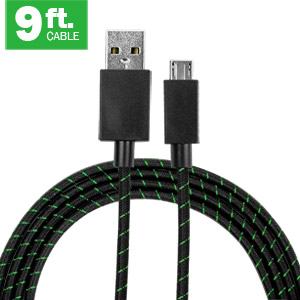 9ft High Speed USB to MicroUSB Nylon Braided Cable