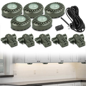 Brilliant Xenon Direct-It Under Cabinet Puck Lights (5-Pack Bronze)