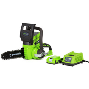 GreenWorks 20362 24V 10-Inch Cordless Chainsaw, 2Ah Battery and Charger Included