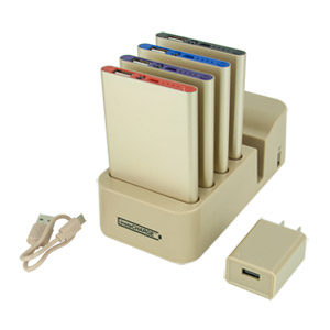 instaCHARGE Grab & Go 4-Pack 4000mAh Power Banks & Charging Station, Gold