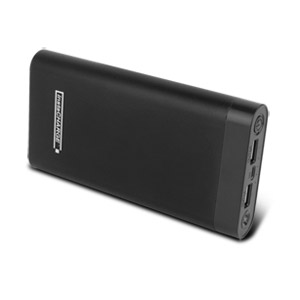 instaCHARGE 20,000mAh Dual USB Power Bank Portable Battery Charger - Black