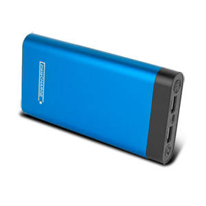 instaCHARGE 20,000mAh Dual USB Power Bank Portable Battery Charger - Blue