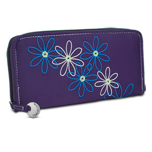 Travelon Safe ID Daisy Ladies Zip Wallet Clutch, Purple