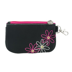 Travelon RFID Blocking Daisy Zip ID Card Holder Coin Pouch Wallet Black