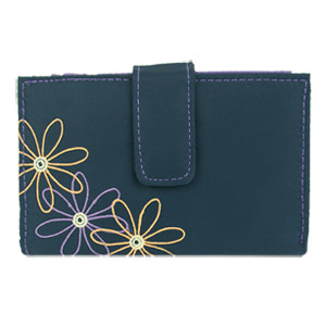 Travelon RFID Blocking Daisy Women's Trifold Wallet Navy