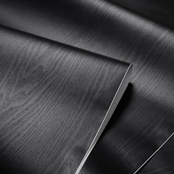 Glow4U Textured Black Wood Grain Self-Adhesive Contact Paper 24 x 117 Inches