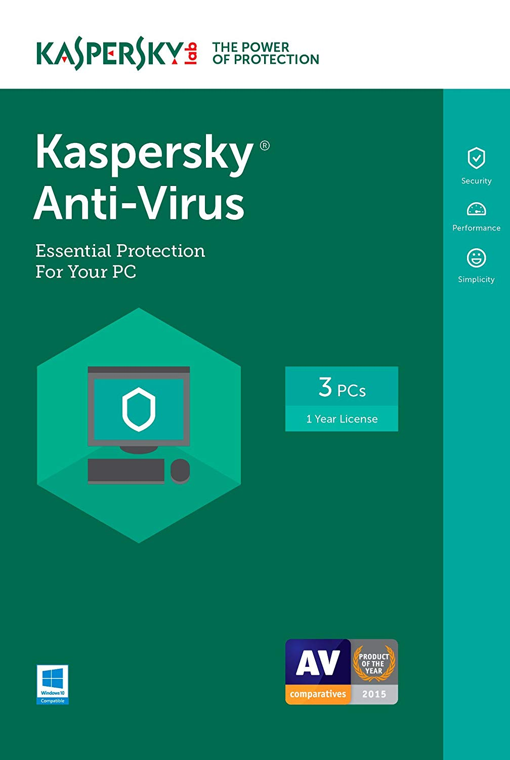 Kaspersky Antivirus for 3 Devices, 1 Year  [Key Code for Latest Edition]