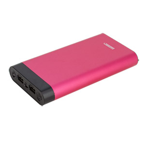 InstaCHARGE 16000mAh Dual USB Power Bank Portable Battery Charger Red EL-16000U