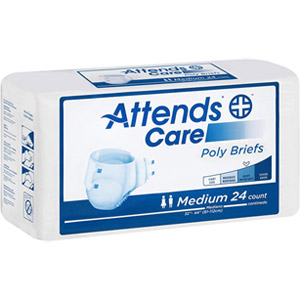 Attends Care Poly Briefs with Odor-Shield for Adult Incontinence Care, Regular, Unisex - 72 Count